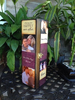 Wedding Personalized Wine Box with photo's and quotes