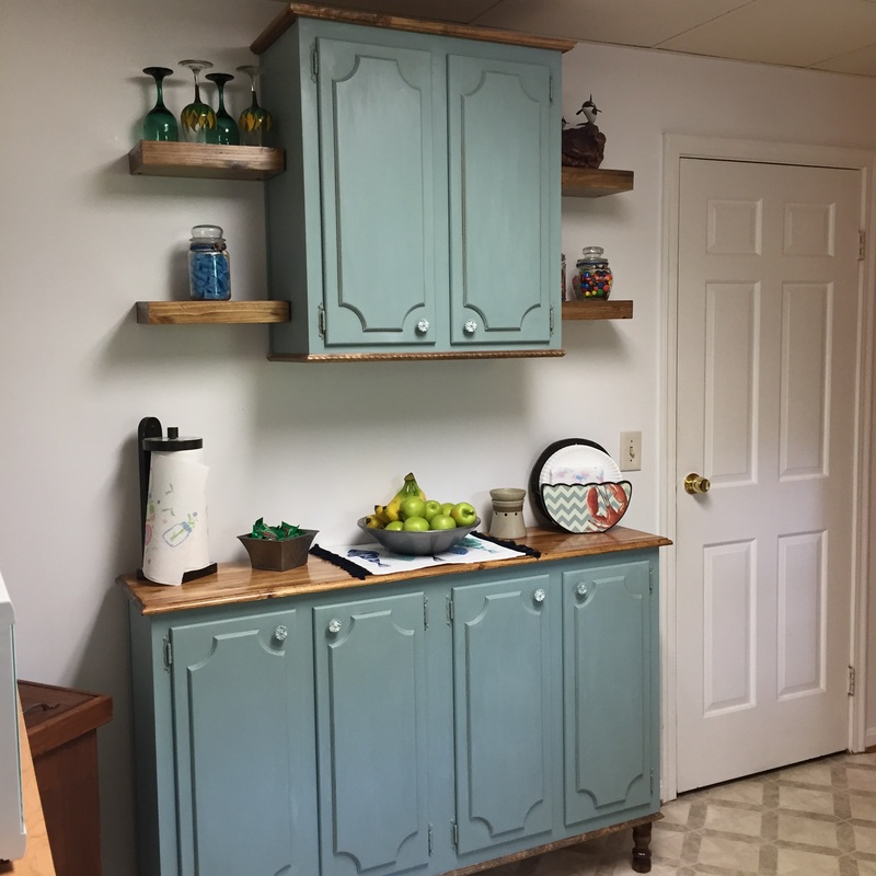 Repurposed kitchen cabinets before and after