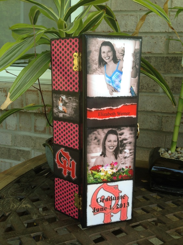 School Graduation Personalized Wine Box with photo's and quotes