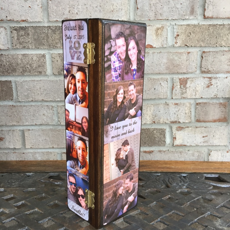 Wedding personalized wine box with photos and quotes