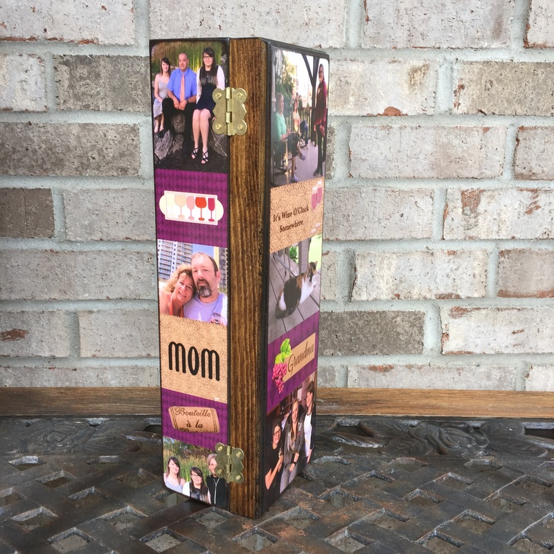 Mom Personalized Wine Box with photo's and quotes