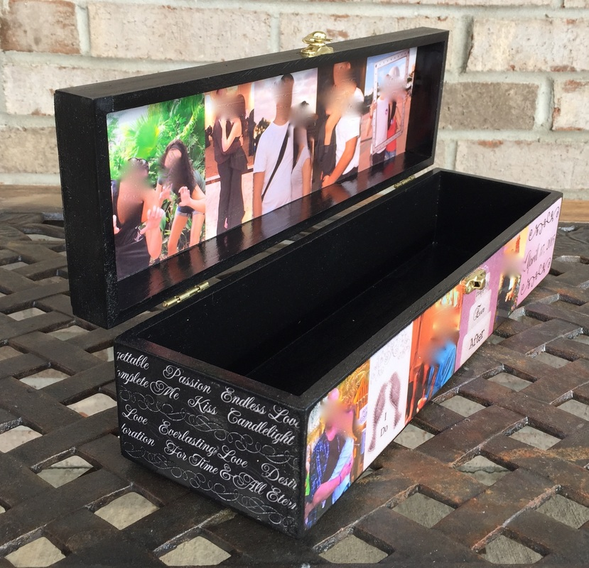 Personalized Wood Wine Box with photo's and quotes