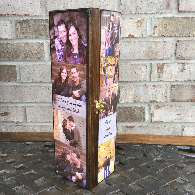 Engagement personalized wine box with photo's and quotes