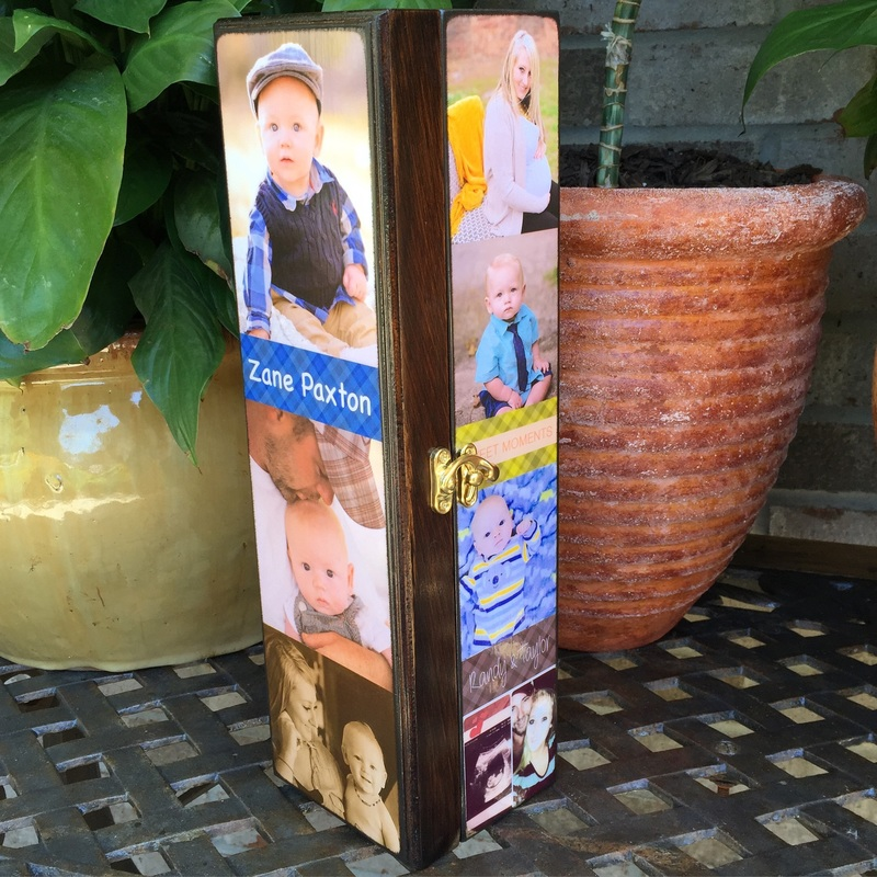 baby Personalized Wine Box with photo's and quotes