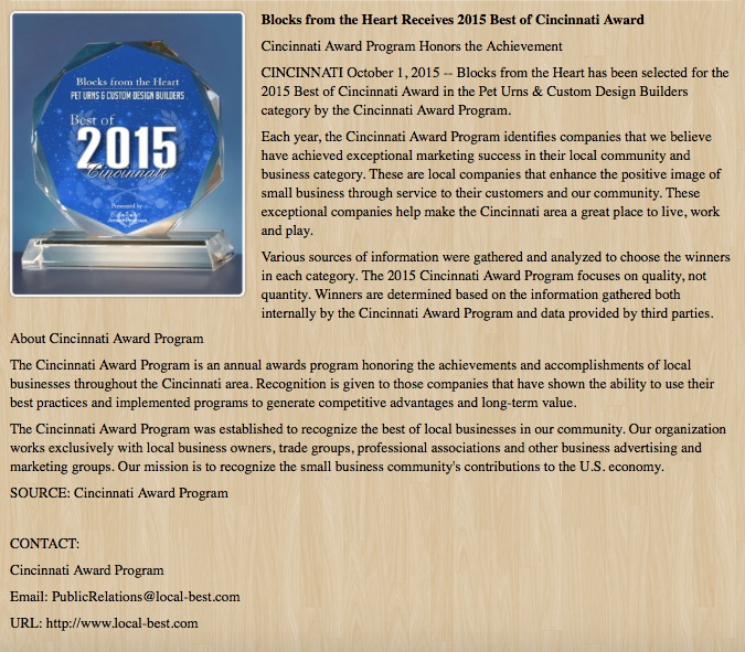 The Best of Cincinnati Award 2015