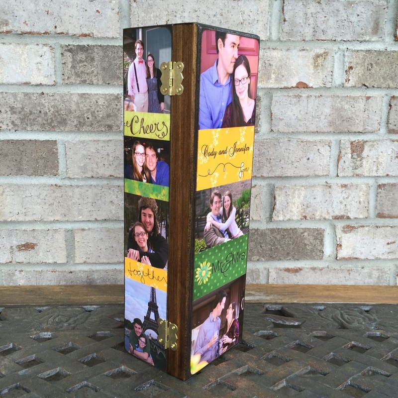 wooden wine box with photo's
