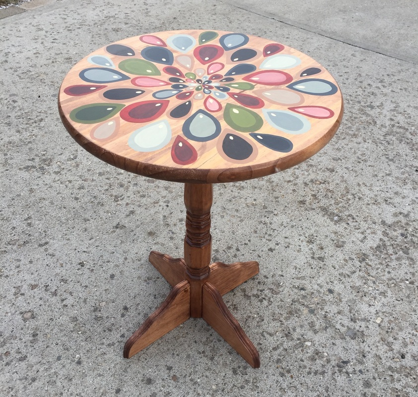 Hand Painted round side table