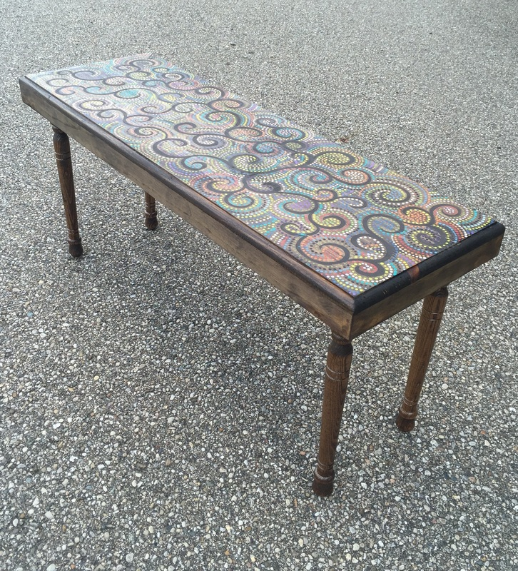 Hand Painted college dorm small coffee table