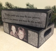Custom made wood trays with quotes and photo's