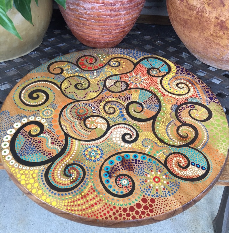 Lazy Susan Hand painted with dots
