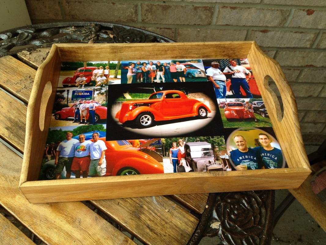 Personalized breakfast tray with old cars