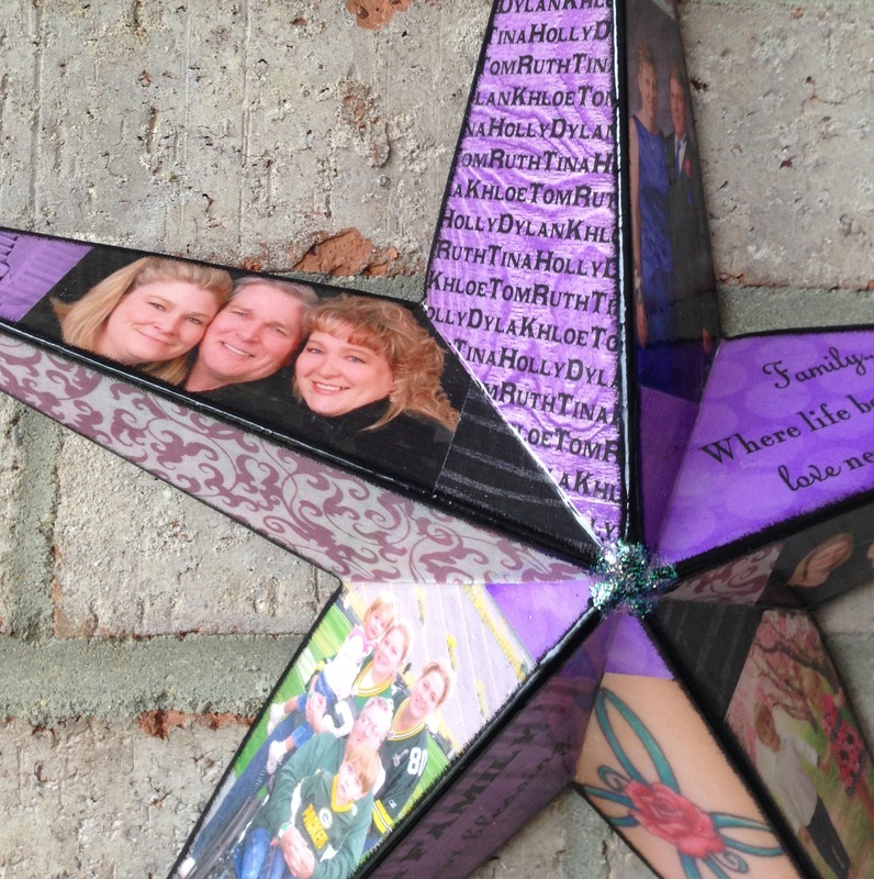 Wood Star personalized with photo's In Loving Memory