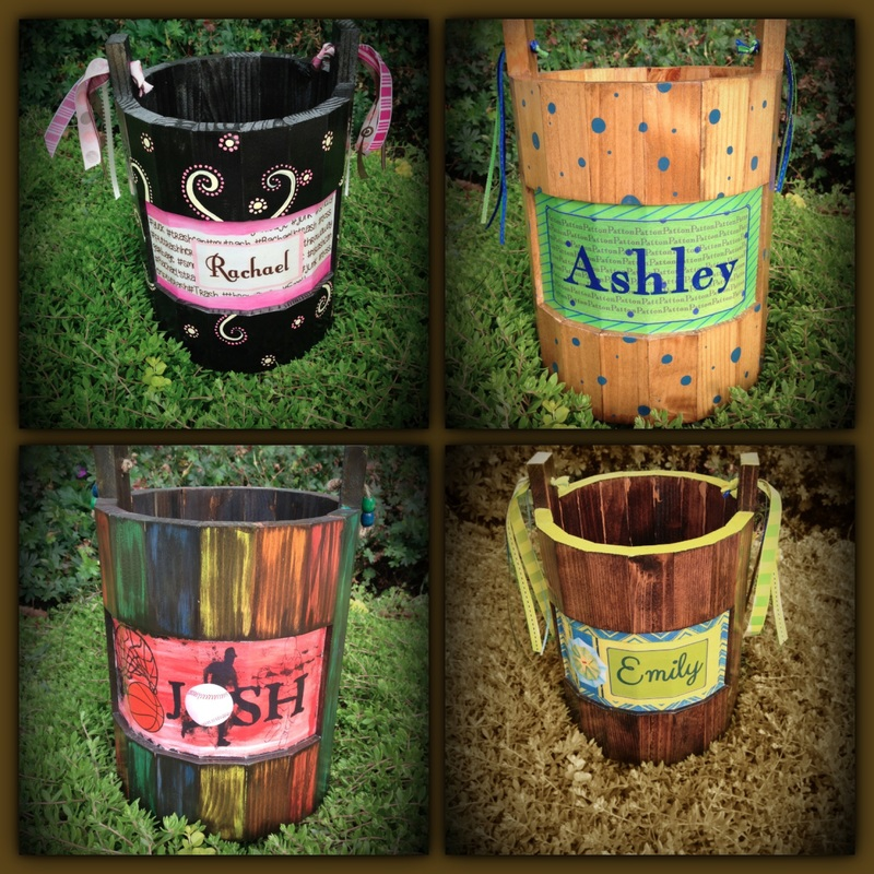 Personalized kids trash can buckets