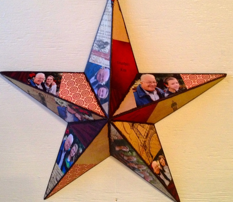 Wood Star personalized with photo's for grandkids