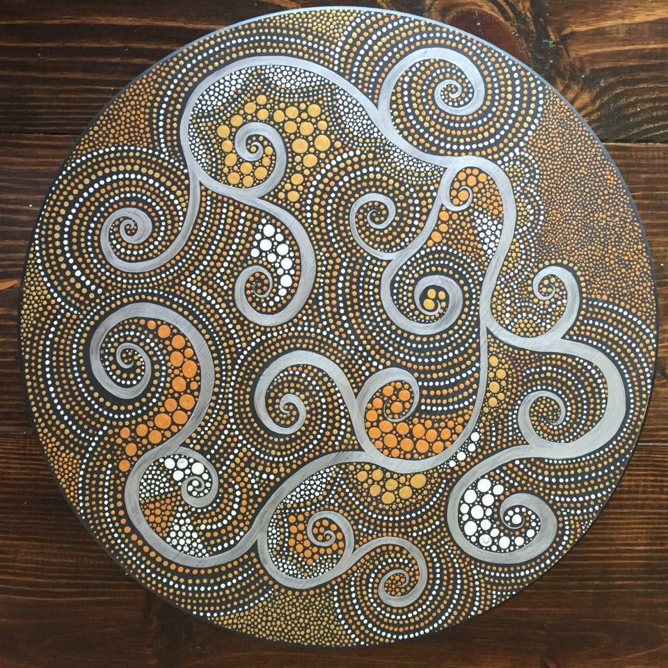 mandala dot art painting on a lazy susan