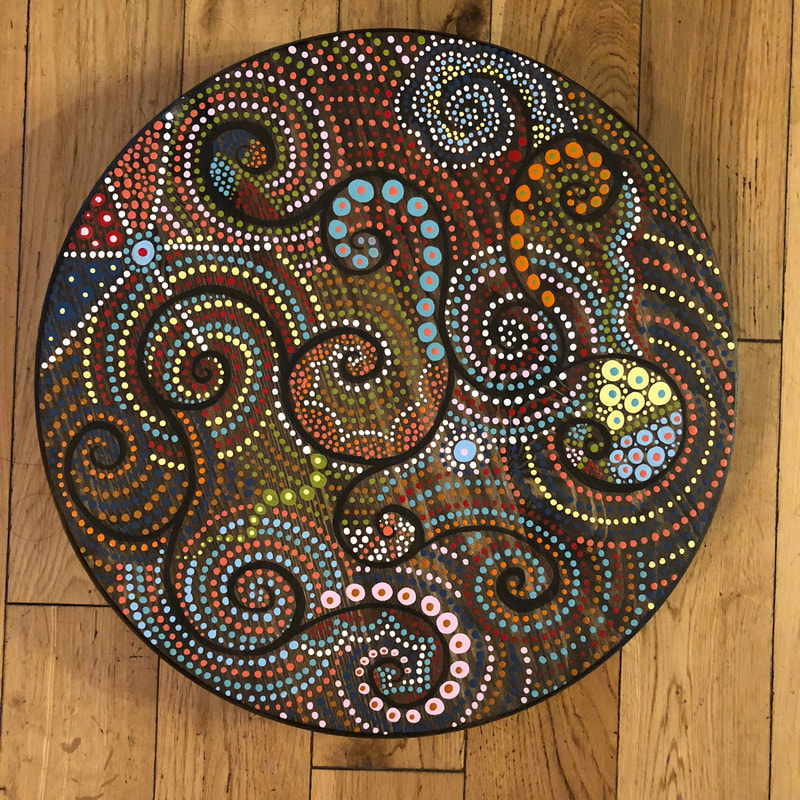 mandala dot art painting on wood lazy susan
