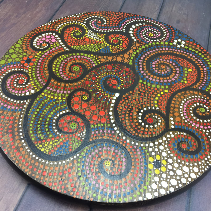 dot art painting on a lazy susan
