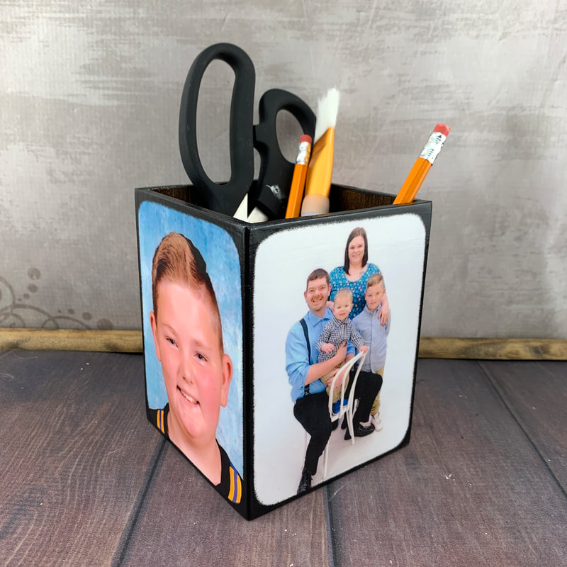 Personalized pencil holder for desk organizer